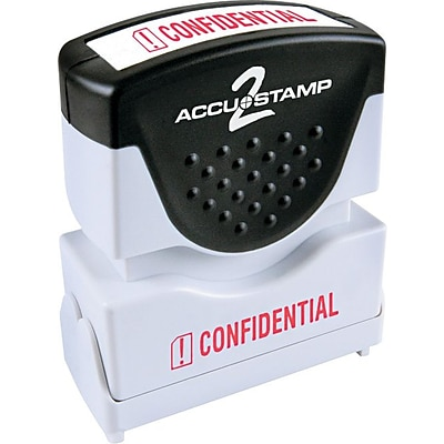 Accu-Stamp2® One-Color Pre-Inked Shutter Message Stamp, CONFIDENTIAL, 1/2 x 1-5/8 Impression, Red Ink (035574)