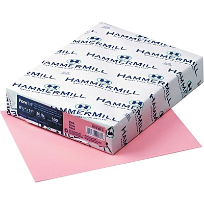 Hammermill® Recycled Colored Paper, 8 1/2 x 11, Pink, 5000/Carton (103382)
