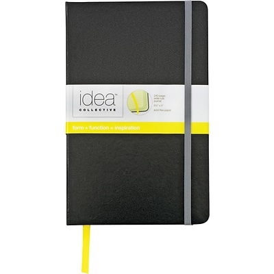 TOPS® Idea Collective™ Journals, 5-1/4x8-1/4, Wide Ruling, Black, 240 Sheets