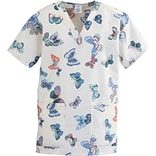 ComfortEase™ Ladies Two-pockets V-neck Scrub Tops, Butterflies Print, Small