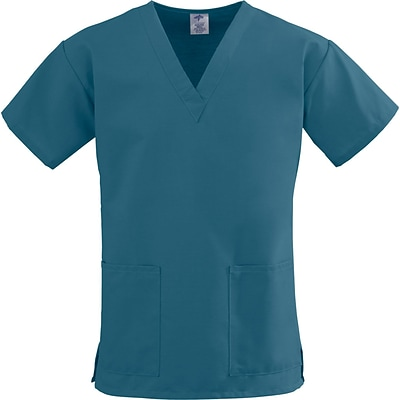 ComfortEase™ Ladies Two-pockets V-neck Scrub Tops, Caribbean Blue, 4XL