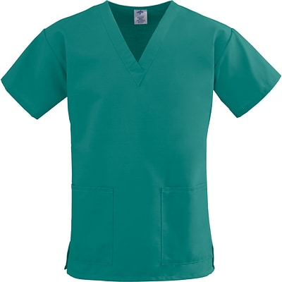 ComfortEase™ Ladies Two-pockets V-neck Scrub Tops, Evergreen, Medium