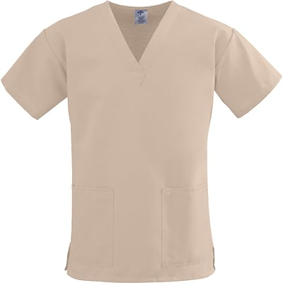 ComfortEase™ Ladies Two-pockets V-neck Scrub Tops, Khaki, XL