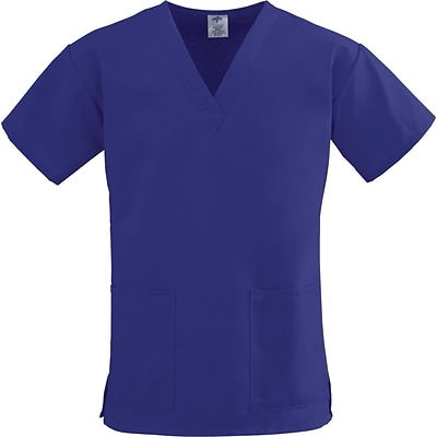 ComfortEase™ Ladies Two-pockets V-neck Scrub Tops, Purple, Large