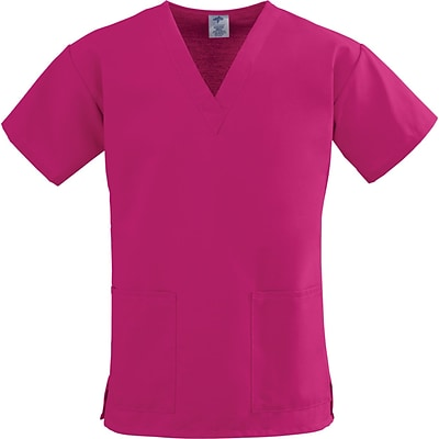 ComfortEase™ Ladies Two-pockets V-neck Scrub Tops, Ruby, Small