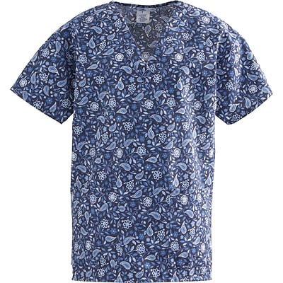 ComfortEase™ Ladies Two-pockets V-neck Scrub Tops, Rhapsody Blue Print, Large