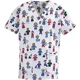 ComfortEase™ Ladies Two-pockets V-neck Scrub Tops, Stick People Print, XL