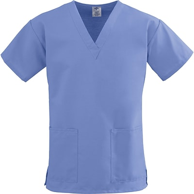 ComfortEase™ Ladies Two-pockets V-neck Scrub Tops, Ceil Blue, Large