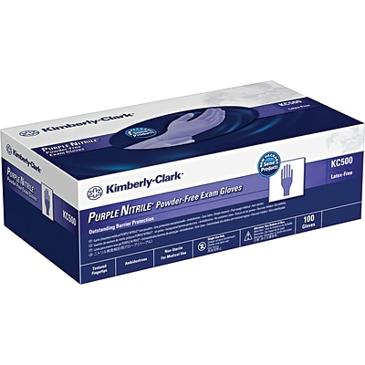 Kimberly-Clark Purple Nitrile Exam Gloves, 5.9 Mil, Ambidextrous, 9.5, Small, 100 Nitrile Gloves/Box