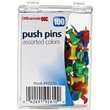 OIC® Push Pins, 1/4 Plastic Heads, Assorted Colors