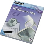 Apollo® Black and White Laser Jet and Copier Transparency Film Without Sensing Stripe, 50 Sheets, 8.