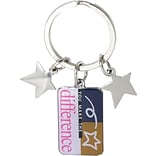Baudville® You Make the Difference Colorful Silver Star Charm Key Chain