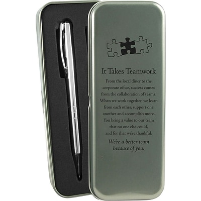 Baudville® It Takes Teamwork Silver Pen and Pencil Gift Set