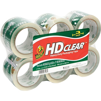 Duck® Crystal-Clear High-Performance Acrylic Tape; 3 Core, 55 Yds, 6/Pack