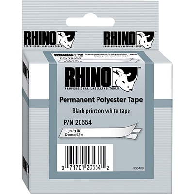Dymo® RhinoPro 18484 0.75(W) Polyester Permanent Label Tape, Black On White