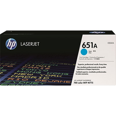 HP 651A Cyan Toner Cartridge (CE341A)