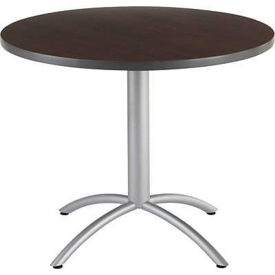 Iceberg CafeWorks Cafe Table Round Walnut Quillcom - Round metal cafe table
