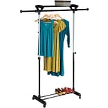 Honey-Can-Do Top Shelf Mobile Garment Rack, Silver & Black (GAR-02123)