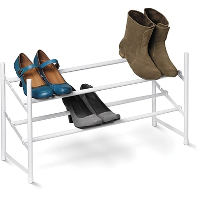 Honey Can Do 2-Tier Expandable Shoe Rack, White