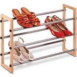 Honey Can Do 3 tier Expandable Wood And Metal Shoe Rack