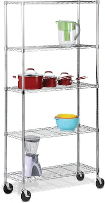 Honey Can Do 5 Tier Chrome Shelving Unit With Wheels