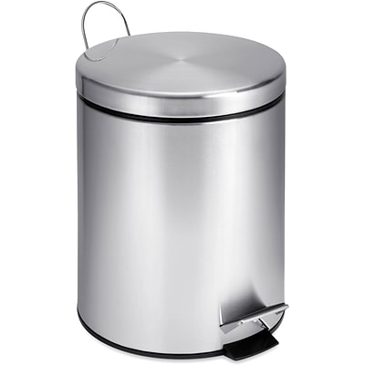 Honey Can Do 1.32 gal. Stainless Steel Round Step Trash Can, Silver