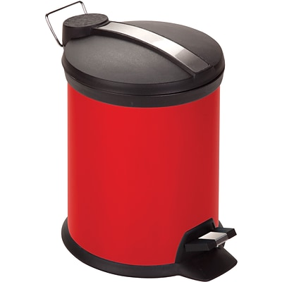 Honey Can Do 0.8 gal. Plastic Step Trash Can; Red