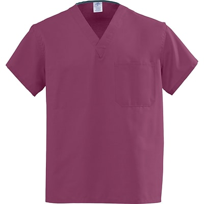 Angelstat® Unisex Two-pocket A-Stat Reversible V-neck Scrub Tops, Raspberry, Angelica Coding, 3XL