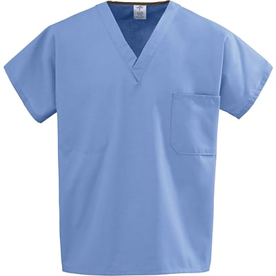 Medline Unisex One-pocket Reversible Tops, Ceil Blue, Large