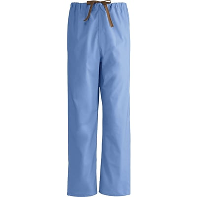 Medline Unisex Reversible Drawstring Scrub Pants, Ceil Blue, Medium, Regular Length