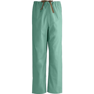 Medline Unisex Reversible Drawstring Scrub Pants, Jade, Small, Regular Length