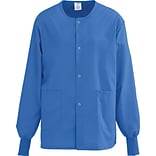 AngelStat® Unisex Two-pockets Snap-front Warm-up Scrub Jackets, Sapphire, Medium