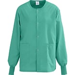 AngelStat® Unisex Two-pockets Snap-front Warm-up Scrub Jackets, Jade, XL