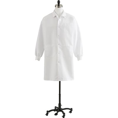 Medline Unisex Knee Length Knit Cuff Lab Coats, White, Medium