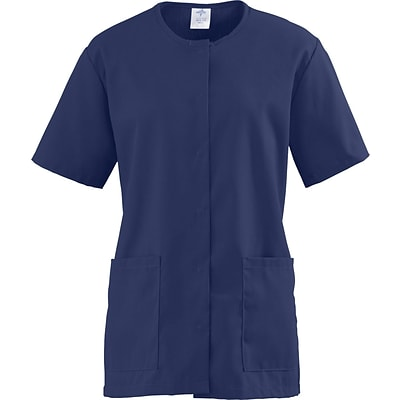 ComfortEase™ Ladies Two-pocket Snap-front Scrub Tunic, Midnight Blue, Medium