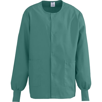 ComfortEase™ Unisex Two-pockets Warm-up Scrub Jackets, Evergreen, XL