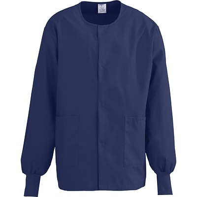 ComfortEase™ Unisex Two-pockets Warm-up Scrub Jackets, Midnight Blue, XL