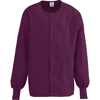 ComfortEase™ Unisex Two-pockets Warm-up Scrub Jackets, Wine, 4XL