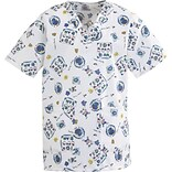 Medline AngelStat Ladies Two-pockets V-neck Scrub Tops, Fun Kids Print, Large
