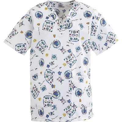 Angelstat® Ladies Two-pockets V-neck Scrub Tops, Fun Kids Print, Large