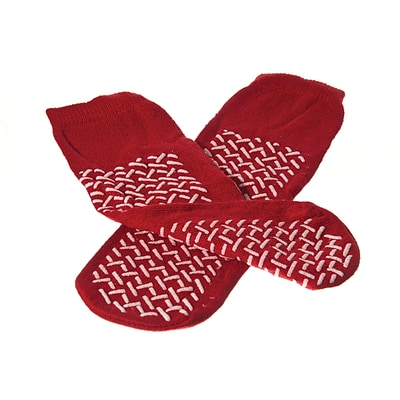 Medline Double-tread Fall Prevention Slippers, Red, White-tread, One Size Fits Most, 48 Pair/Case