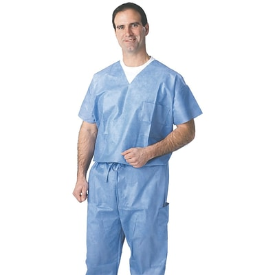 Medline Unisex One-pocket Disposable V-neck Scrub Tops, Blue, XL, 30/Case