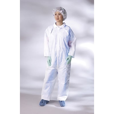 Medline Classic Breathable Coveralls; White, XL, 25/Case