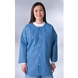 Medline Unisex Knit Cuff/Collar Multi-layer Material Lab Jackets, Blue, XL, 30/Case