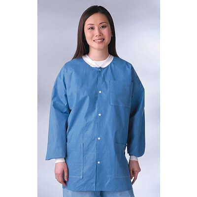 Medline Unisex Knit Cuff/Collar Multi-layer Material Lab Jackets, Blue, Medium, 30/Case