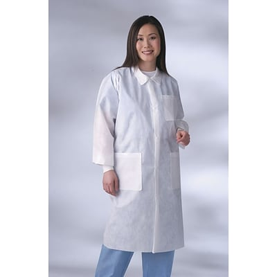 Medline Unisex Knit Cuff/Traditional Collar Multi-layer Lab Coats, Blue, XL, 30/Case