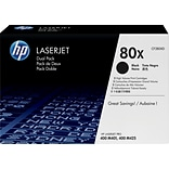 HP 80X (CF280XD) Black High Yield Original LaserJet Toner Cartridges, Multi-pack (2 cart per pack)