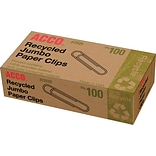 ACCO® Recycled Paper Clips, 90% Recycled, Smooth, Jumbo, 5/Ct