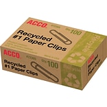 ACCO® Recycled Paper Clips, 90% Recycled, S...