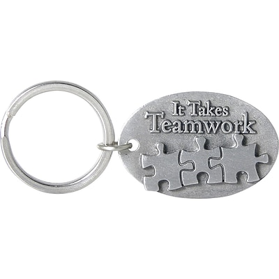 Baudville® Pewter Key Chain with Puzzle Pieces, It Takes Teamwork